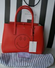 NEW AUTHENTIC ANYA HINDMARCH CIRCUS LEATHER EBURY FLAME RED TOTE SMILEY BAG