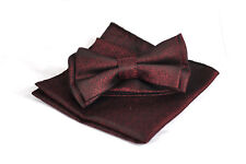 MENS BOW TIE + POCKET SQUARE Hanky Handkerchief Wedding Party DARK RED ELEGANT