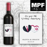 Personalised Wedding Anniversary Wine Bottle Label - Love Hearts - Any Text