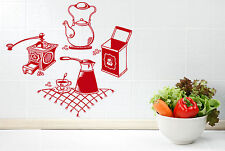 Wall Vinyl Decal Coffee Grinder Maker Tea Maker Kitchen Interior Decor z4665