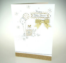 Happy Baby Shower. GORGEOUS Congratulations greeting card in white and gold.