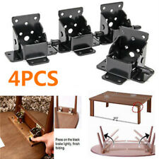 4pcs Iron Table Chair Leg Hinge Folding Self Locking Furniture Bracket Hinges
