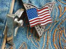 Handcrafted in 925 Silver American USA Glory Flag 4th July Collar Tips
