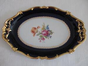 Weimar Porzellan Platte Echt Kobalt Goldrand Blumen handgemalt Made in Germany