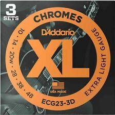D'Addario ECG23 Chromes Flat Wound Guitar Strings, Extra Light, 10-48, 3 Sets