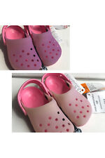 New NWT Crocs COLOR CHANGE Kids Girls Sandals Pink --> Purple big kid Sz J2