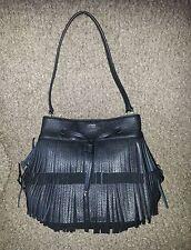 *RALPH LAUREN*-Cobden-Black Leather Fringe Drawstring Shoulder Bag-NWOT