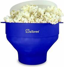 Microwave Popcorn Popper, Silicone Popcorn Maker Bowl BPA Free (Blue)