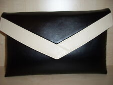 OVER SIZED BLACK AND CREAM faux leather envelope clutch bag, fully lined BN!