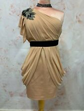 LIPSY CHIFFON COCKTAIL DRESS NUDE SHORT MINI FITTED WIGGLE ONE SHOULDER PARTY 12