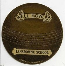 (Gn136-100) J.Baines Cricket Ball card, LANSDOWNE SCHOOL 1916 VG+
