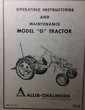 Allis Chalmers Model G Farm Lawn Garden Tractor Owner Amp Maintenance Manual Ac
