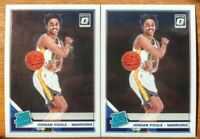 2019-20 JORDAN POOLE RATED ROOKIE 2 Card Lot Optic Golden State Warriors