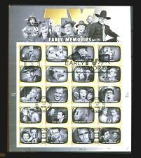 Early TV Memories Sheet of 20 First Day of Issue Special Cancel FDC