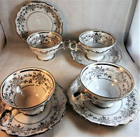 Romance Bavarian Crest Cup & Saucer Sets (4 Pair) Platinum Trim Coffee Tea