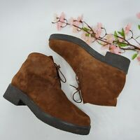 Womens Vintage 80s Brown Suede Leather Ankle Boots sz 7.5 M Lace Up Shoes