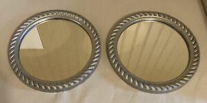 vintage pair round silver accent mirrors