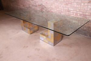 Paul Evans for Directional Cityscape Chrome and Brass Dining Table