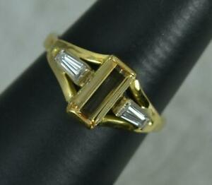 18ct Gold Golden Topaz and Diamond Trilogy Engagement Ring