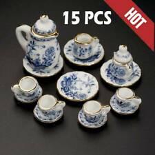 15Pcs Dining Ware Ceramic Blue Flower Set for 1:12 Dollhouse Miniatures Toys