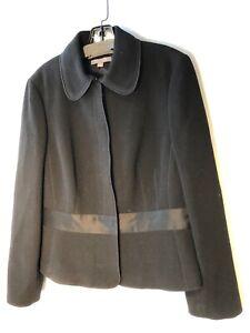ANN TAYLOR NWT $229 Blazer Black Wool Grosgrain Ribbon Belt Size 12 Bin-R