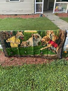 dogs playing pool tapestry vintage. Billiards… Made In Turkey.