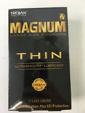 Trojan Magnum Large Size Condoms Thin Ultra smooth Lubricant Contraceptive 12 Ct