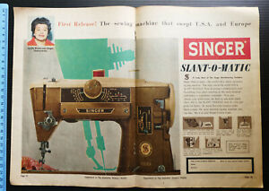 1961 vintage ad SINGER Slant-O-Matic SEWING MACHINE advertisement print advert