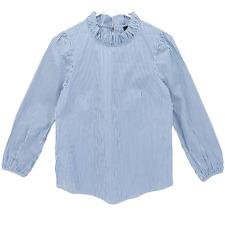 J Crew Women's Stripe Top Long Sleeve Ruffle Neck Blouse Blue White Size XXS NWT