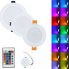 RGB 3W 5W 10W Dimmable LED Recessed Ceiling Downlight Lamp + Remote 85-265V RH