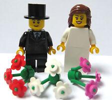 Lego Wedding Minifigures Bride Long Brown Hair  3 Flowers & Groom