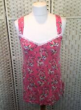 Monsoon Bright Pink Floral Lace Trim Cotton Blend Strappy Summer Vest Top 8/10