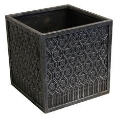 Planter Gothic Plant Pot 45cm Cube Lead Effect Indoor Outdoor Decorative Garden