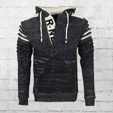 Rusty Neal Männer Strick-Pullover mit Kapuze Herren Sweater blau Hoody Hoodie