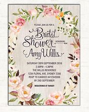 Boho Bridal Shower Invitation Bohemian Floral Invite Rustic Hens Night High Tea