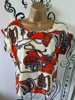 BNWT Womens Size 10 Miss Moda Loose Fit Short Sleeve Top Rope Carriage Pattern