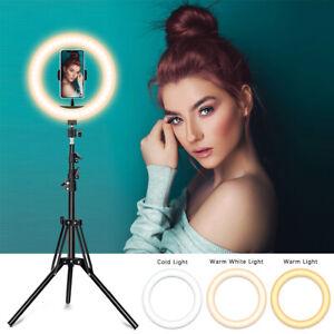 """10''/12"""" LED Ring Light Dimmable Lighting Phone Selfie 2m Tripod Stand Uk Seller"""