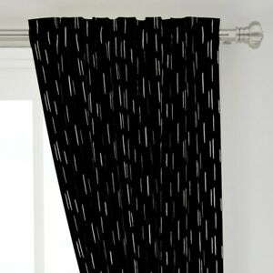 """Brush Abstract Minimal Black White 50"""" Wide Curtain Panel by Roostery"""