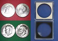 1976-P & D Type 1 BU Clad Eisenhower Dollars With 2x2 Cases Flat Rate Shipping