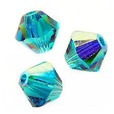 10 Perles Toupies 6mm Cristal Swarovski  BLUE ZIRCON AB  5328 XILION