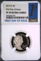 2019-S JEFFERSON PROOF NICKEL 5c 1ST FIRST DAY ISSUE NGC PF70 ULTRA CAMEO