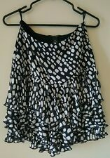 White House Black Market black white skirt 00 XSmall lined tiered ruffle