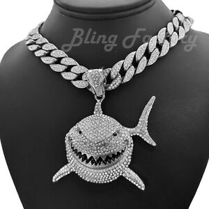 "6ix9ine Silver PT Iced Shark Pendant 16"" 18"" 20"" Iced Cuban Chain Bling Necklace"