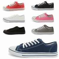 LADIES WOMENS GIRLS CASUAL CANVAS PUMPS LACE UP PLIMSOLLS FLAT TRAINERS SHOES