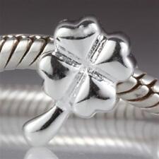 NEW 925 Sterling Silver European Bracelet Charm Bead Lucky Clover Leaf