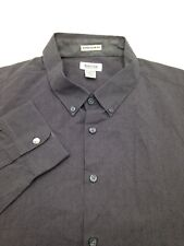 $95 KENNETH COLE Men SUPER SLIM-FIT BLACK GRAY STRIPE LONG-SLEEVE DRESS SHIRT XL