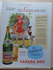 1937 magazine ad for Canada Dry Ginger Ale, little girl & dog, It's Good For You