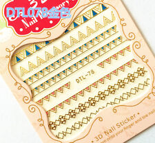 GOLD Egyptian Symbol Patten Triangle 3D Nail Art Sticker Decals UV Gel Manicure