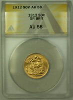 1912 Great Britain Gold Sovereign Coin ANACS AU-58 (B)