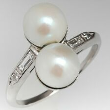 Vintage Twin Pearl With Cultured Saltwater Women's 925 Sterling Silver Ring